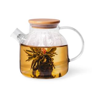 6537  Чайник заварочный Fissman 1200мл с бамбуковой крышкой и стальным фильтром (стекло)