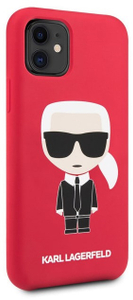 Чехол Lagerfeld для iPhone 11 Liquid silicone Iconic Karl Hard Red