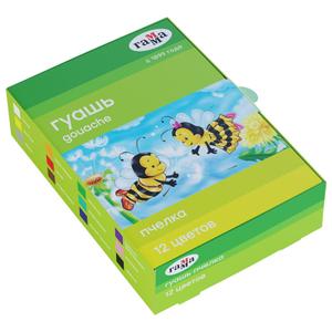 """Гуашь Гамма """"Пчелка"""", 12 цветов, 20мл, картон"""
