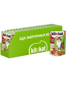 Влажный корм для кошек Kitekat желе с говядиной, 85г ( 28 шт. в уп. )