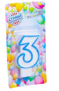 """Свеча восковая для торта """"Цветной ободок"""" цифра 3, цвета МИКС"""