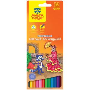 """Карандаши цветные Мульти-Пульти """"Енот в Испании"""", 12цв., трехгран., заточен., картон, европодвес"""