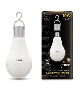 Лампа Gauss LED A60 10W E27 640lm 3000K с Li-Ion аккумулятором 1/10/60