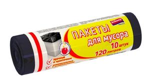 Мешки для мусора хозяйственные черные 10шт 120л Авикомп