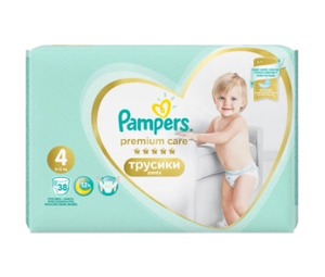 Подгузники-трусики Premium Care Pants Maxi (9-15 кг) Упаковка 38 PAMPERS