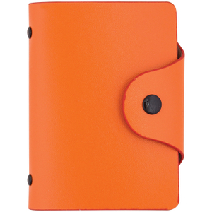 Визитница карманная OfficeSpace на 40 визиток, 80*110мм, кожзам, кнопка, оранжевый