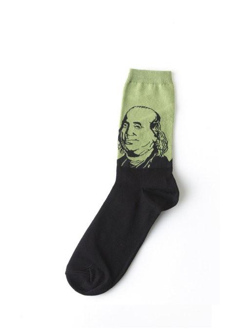 """Дизайнерские носки серии полотна великих """"Портрет Бенджамина Франклина"""""""