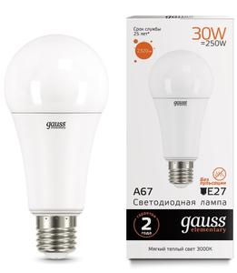 Лампа светодиодная Gauss Elementary A67 30W 2320lm 3000K E27 LED