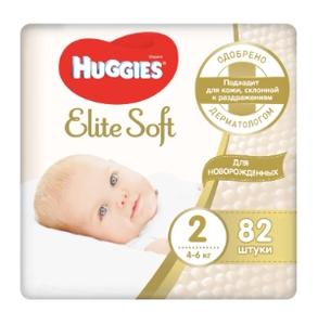 Подгузники Элит Софт 2 (4-6 кг) 82 шт Huggies