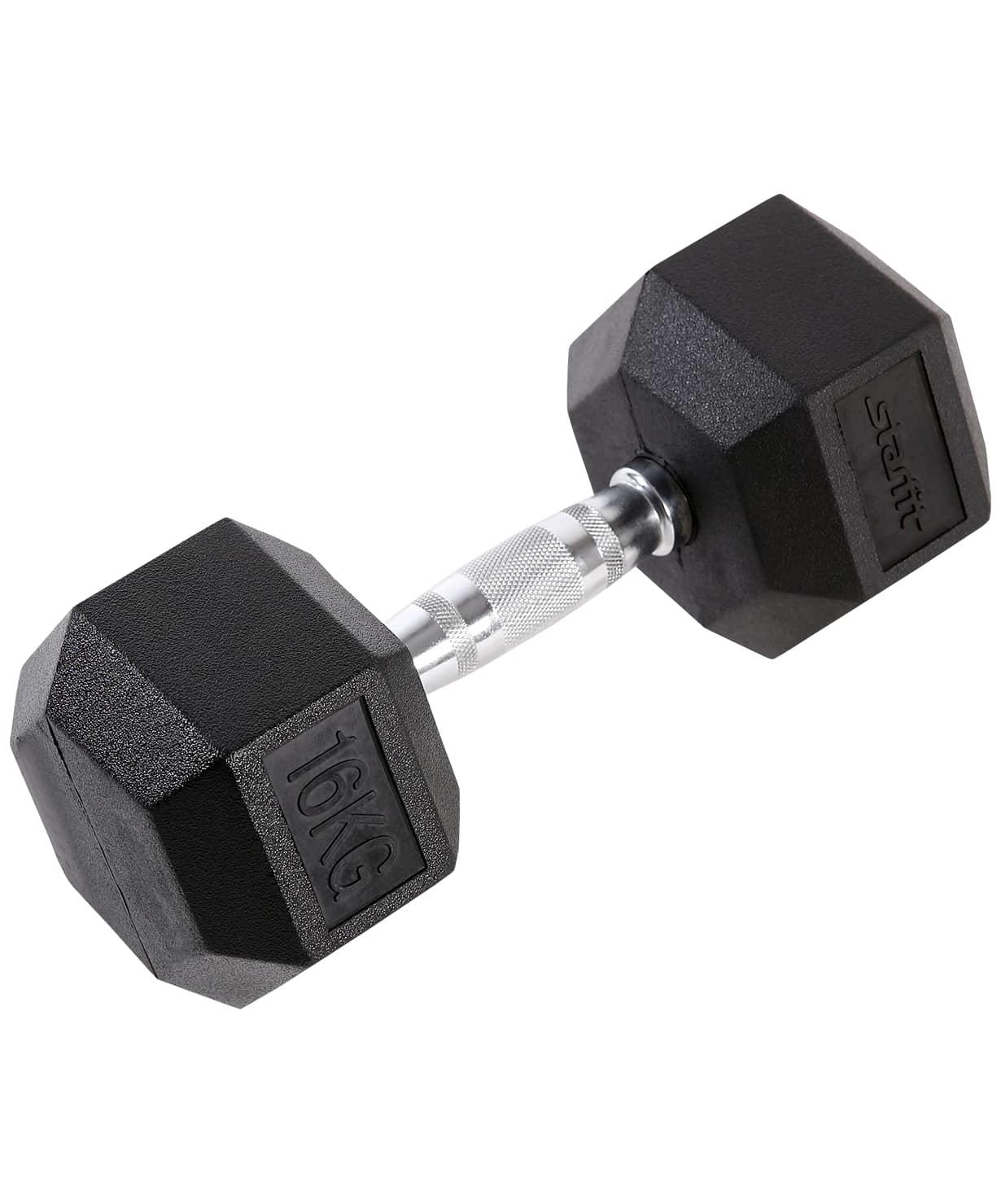 Гантель обрезиненная DB-301 16 кг, черная