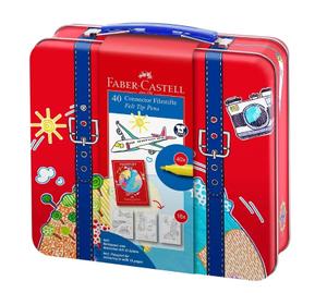 """Набор для рисования Faber-Castell """"Connector"""" 40 фломастеров+6 клипс+паспорт раскраск., метал."""