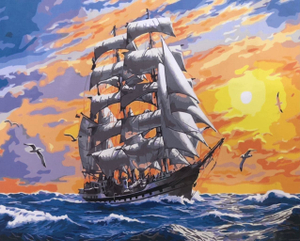 "Картина по номерам на холсте 40х50 ""Корабль на закате"""