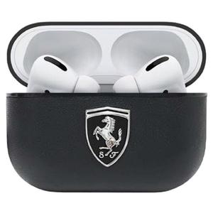 Чехол Ferrari с кольцом Off-Track Genuine leather with metal logo для AirPods Pro, черный