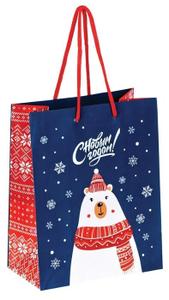 """Пакет подарочный новогодний 18*23*10см ArtSpace """"Медведь в шарфе"""", ламинированный"""