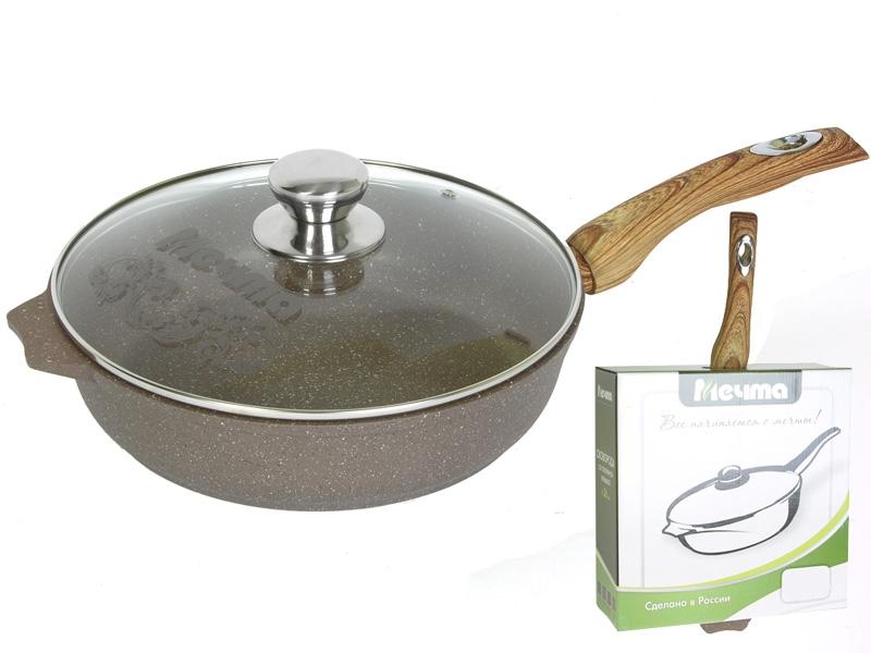 Сковорода 26см АП Гранит brown с несъемной ручкой и стекл. крышкой арт. С26806