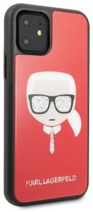 Чехол Lagerfeld для iPhone 11 Double Layer Karl's Head Hard Glass Red