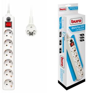 Сетевой фильтр BURO 600SH-3-W, 3м, белый