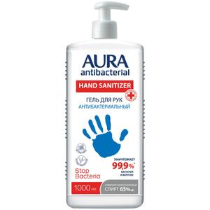 """Гель антибактериальный для рук Aura """"Antibacterial"""", изопропиловый спирт, дозатор,1л"""