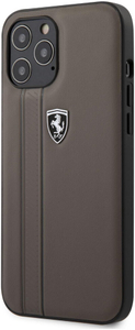 Чехол накладка Ferrari для Apple iPhone 12 Pro Max коричневый