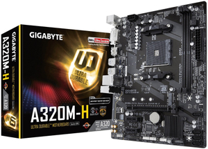 Материнская плата GIGABYTE GA-A320M-H (RTL) AM4 <A320> PCI-E DVI+HDMI GbLAN SATA RAID MicroATX 2DDR4, ограниченная гарантия