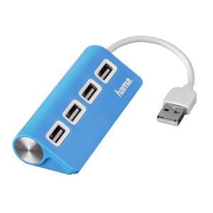 Разветвитель USB 2.0 Hama TopSide 4порт. голубой (00012179)