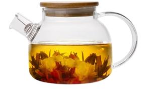 Заварочный чайник  GB-5518 стекло бамбук крышка 1л.