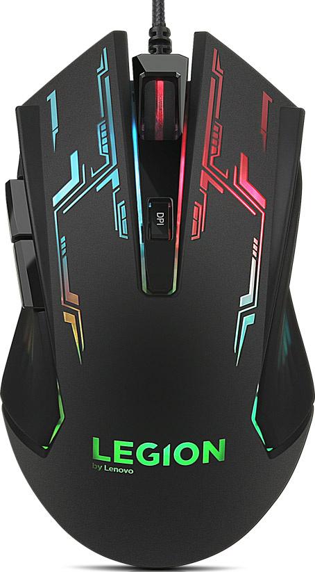 Мышь проводная Lenovo Legion M200 черный