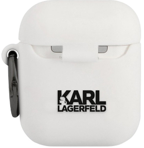 Чехол Lagerfeld для Airpods Silicone case with ring Karl White