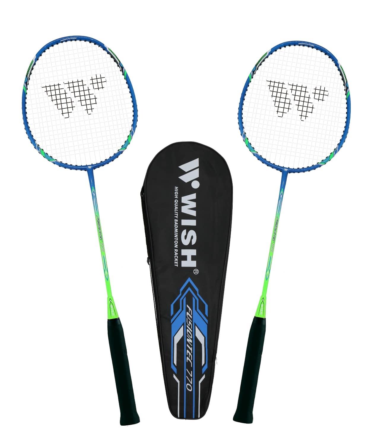 Набор для бадминтона Fusiontec 770K, 2 ракетки, синий/зеленый