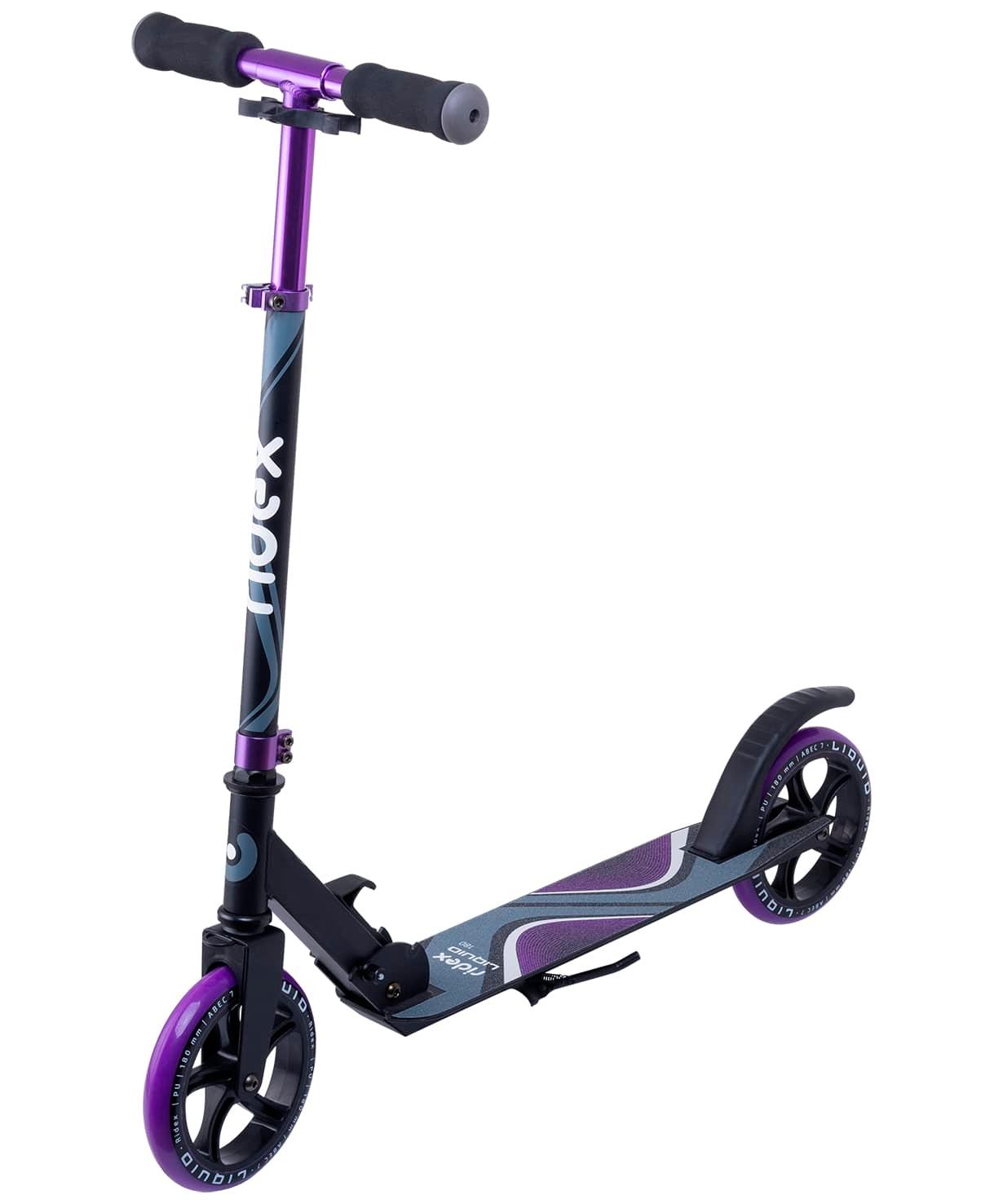 Самокат 2-колесный Liquid 180 мм, черный/фиолетовый