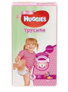 Трусики-подгузники для девочек 6 (16-22 кг) 44 шт Huggies