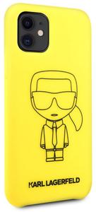 Чехол Lagerfeld для iPhone 11 Liquid silicone Ikonik outlines Hard Yellow/Black