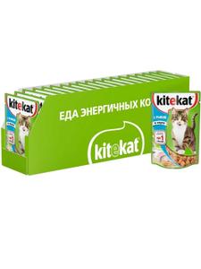 Влажный корм для кошек Kitekat соус с рыбой, 85г ( 28 шт. в уп. )