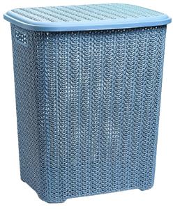 Корзина для белья с крышкой «Вязь», 60 л, 45×37×53 см, цвет голубой