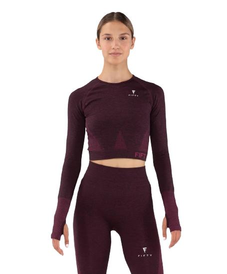 Женская футболка с длинным рукавом Emphatic bordo FA-WL-0203-BRD, бордовый