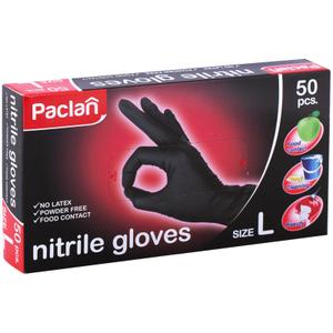 """Перчатки нитриловые Paclan """"Practi"""", L, черные, 50шт., картон. коробка"""
