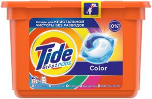 Гель для стирки в капсулах Color 15шт Tide