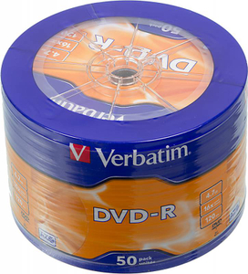 Диск DVD-R Verbatim 4.7Gb 16x Cake Box (50шт) (43731)