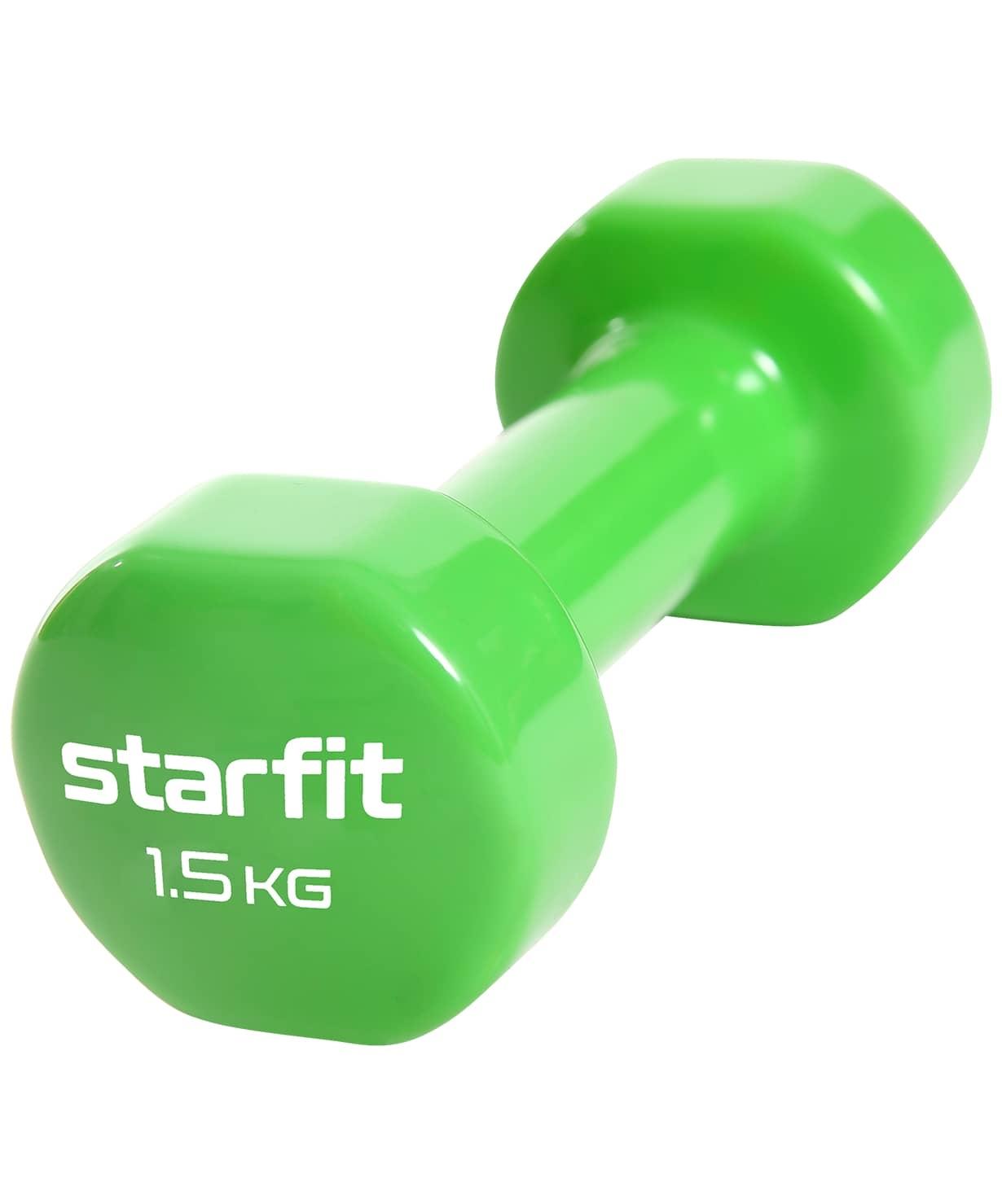 Гантель виниловая Core DB-101, 1,5 кг, зеленый