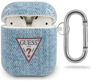 Чехол Guess с кольцом Denim для Airpods, светло-синий