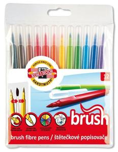 Фломастеры-кисть 12 цветов Koh-I-Noor 1009 Brush, кистевой пишущий узел, трёхгранные, европодвес