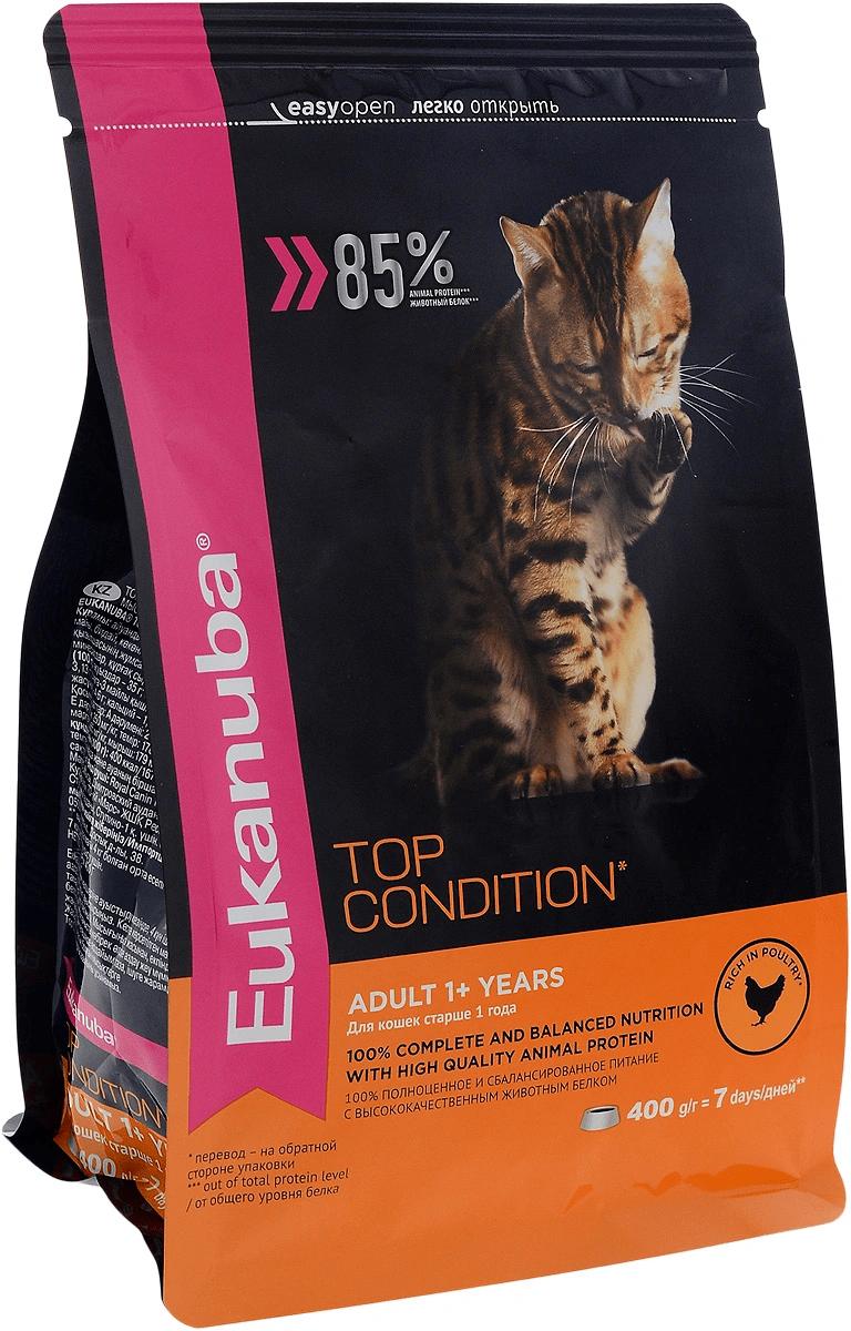 Корм Eukanuba для взрослых кошек с курицей 400 гр.