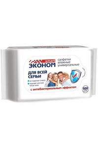 Влажные салфетки для всей семьи с антибактериальным эффектом 100шт Эконом smart