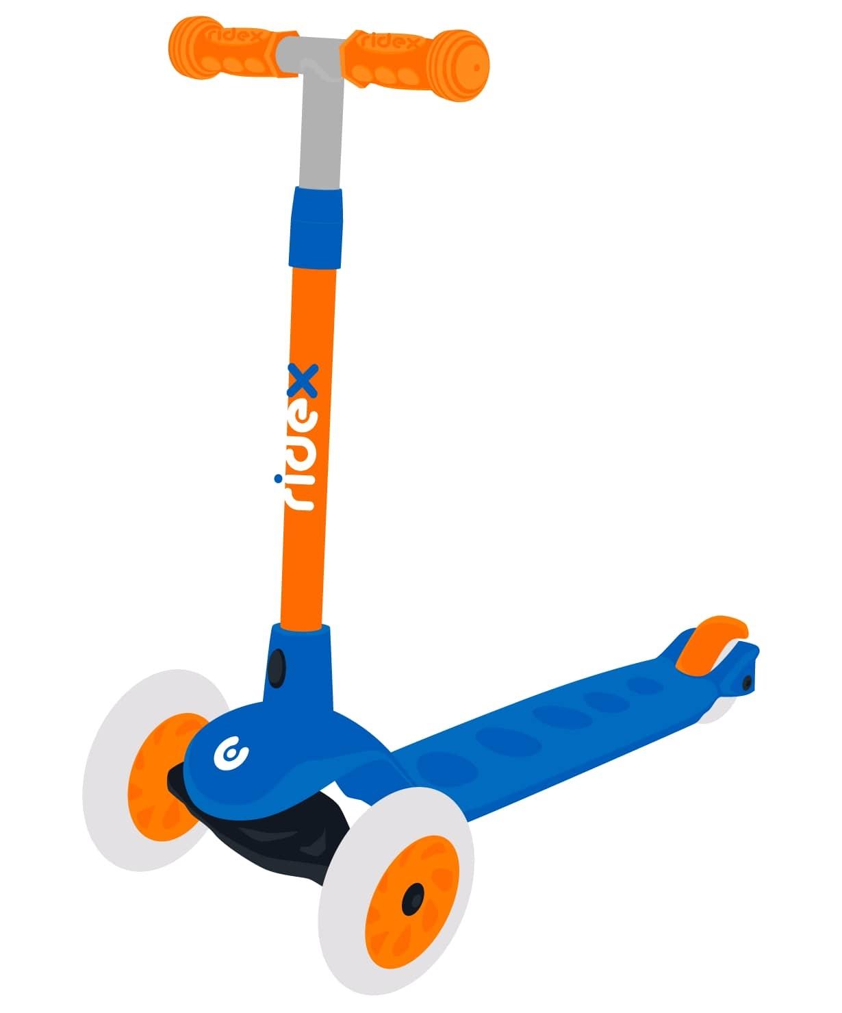 Самокат 3-колесный Hero, 120/80 мм, синий/оранжевый