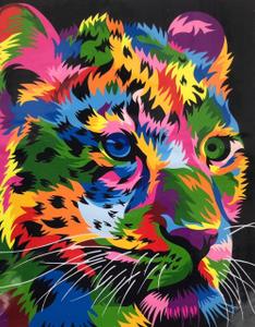 "Картина по номерам на холсте 40х50 ""Радужный леопард"""