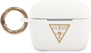 Чехол Guess Silicone case Triangle logo with ring для Airpods Pro, белый