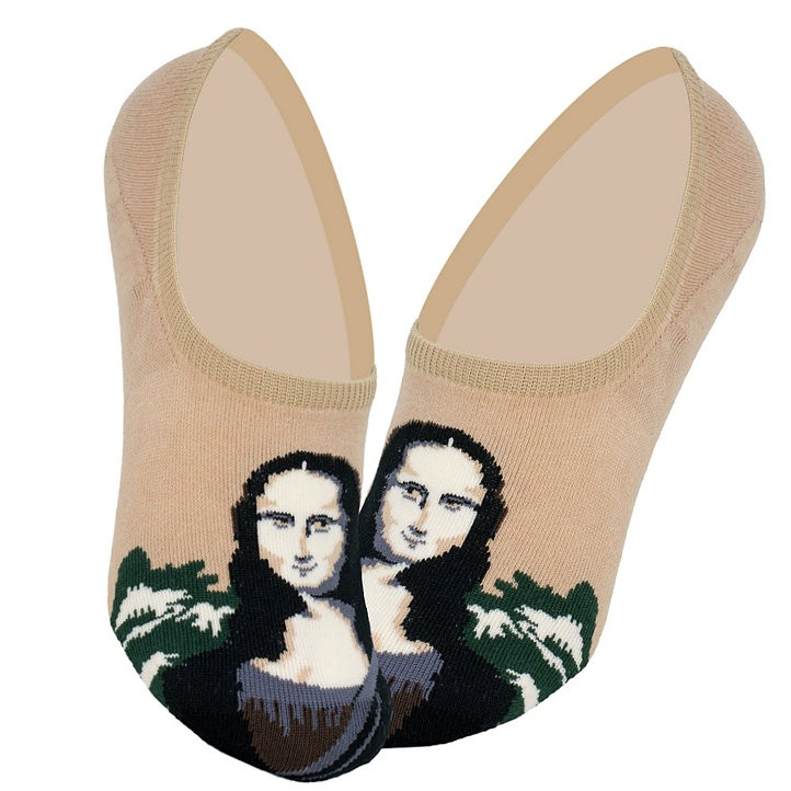 "Дизайнерские носки (invisible) серии полотна великих ""Мона Лиза"" Леонардо да Винчи  (комплект из 2-х пар)"