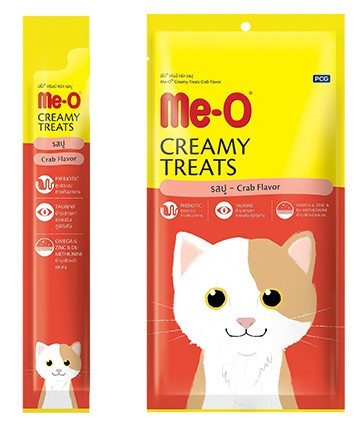 "Крем-лакомство для кошек Ме-О ""Creamy Treats"", краб (4 штуки), 60 г"