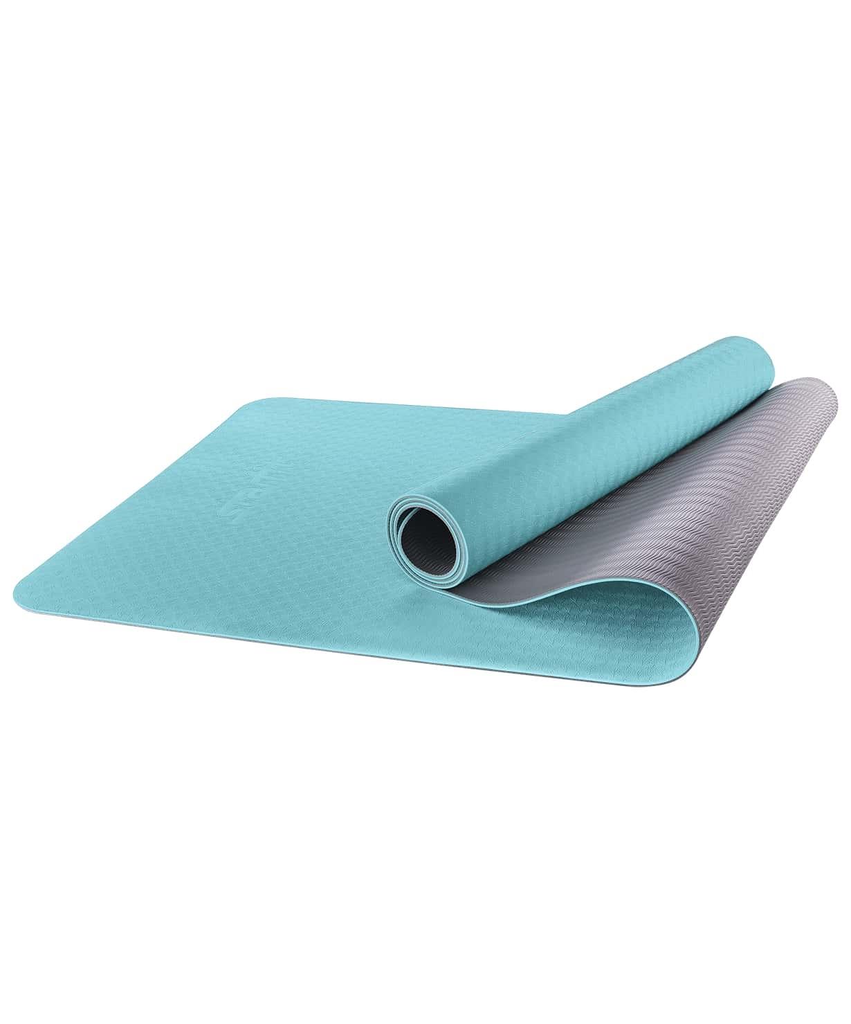 Коврик для йоги FM-201, TPE, 173x61x0,6 см, мятный/серый