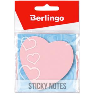 """Самоклеящийся блок фигурный Berlingo """"Сердце"""", 70*70мм, 50л, малиновый неон, европодвес"""
